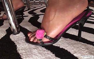 Ingenious interracial foot fucking porn round long-legged babes Jasmine Webb & C.J.