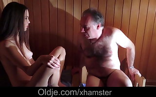 Amazing Beautiful Teen is Fucking an Old Man in Eradicate affect Sauna