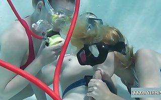 Minnie Manga increased by Marcie blow huge cock in the pool