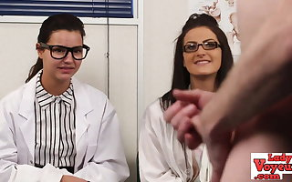 English voyeur nurses instructing tugging guy