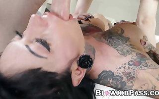 Tattooed goddess Jessie Lee deepthroated and doused in jizz