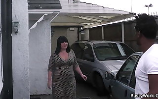 Busty working woman swallows his huge sulky dick