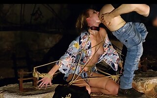 Bound Ashley Lane gets night stage face having it away and rimjob