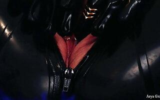 Femdom POV Giantess Video, Latex PVC Lesbians, Arya Grander