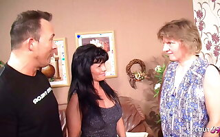 German Mature Couple Fuck in front of Sheila and she joins in for a threesome