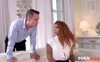 Redheaded Latina Venus Afrodita Abysm Throats Two Dongs