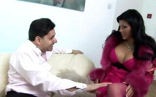 Hot bosomy brunette in pink underwear seduces elder guy