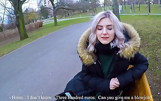 Cute teen swallows hot cum for cash - ground-breaking public blowjob by Eva Elfie