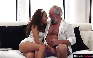 Latin Melody Petite crave for an old load of shit in mouth and pussy