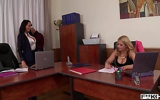 Brunette deity Patty Michova & Kyra Hot swell up their tits during cock ride