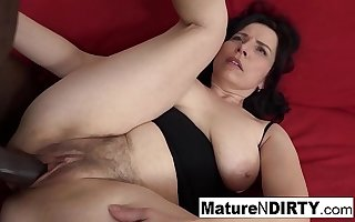 Grown up with natural tits gets a creampie in their way hairy pussy!