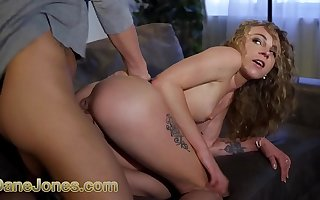 Dane Jones Lilliputian French blonde Angel Emily gives a big dick blowjob