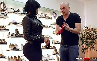 YOUMIXPORN Interactive Hardcore interracial fuck - Fat ass ebony enchantress Canela Skin fucks for unconforming shoes and gets cum on will not hear of feet