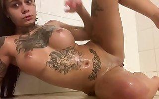 Tatted Genevieve Sinn Has Fun In Shower