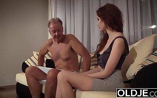 Teenie sucks deepthroat grandpa cock and takes cum