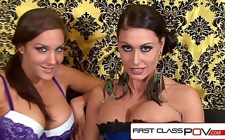 Jessica Jaymes and Kiera King suck and fuck 10 inch cock